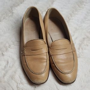J.Crew tan leather penny loafers fair used conditi